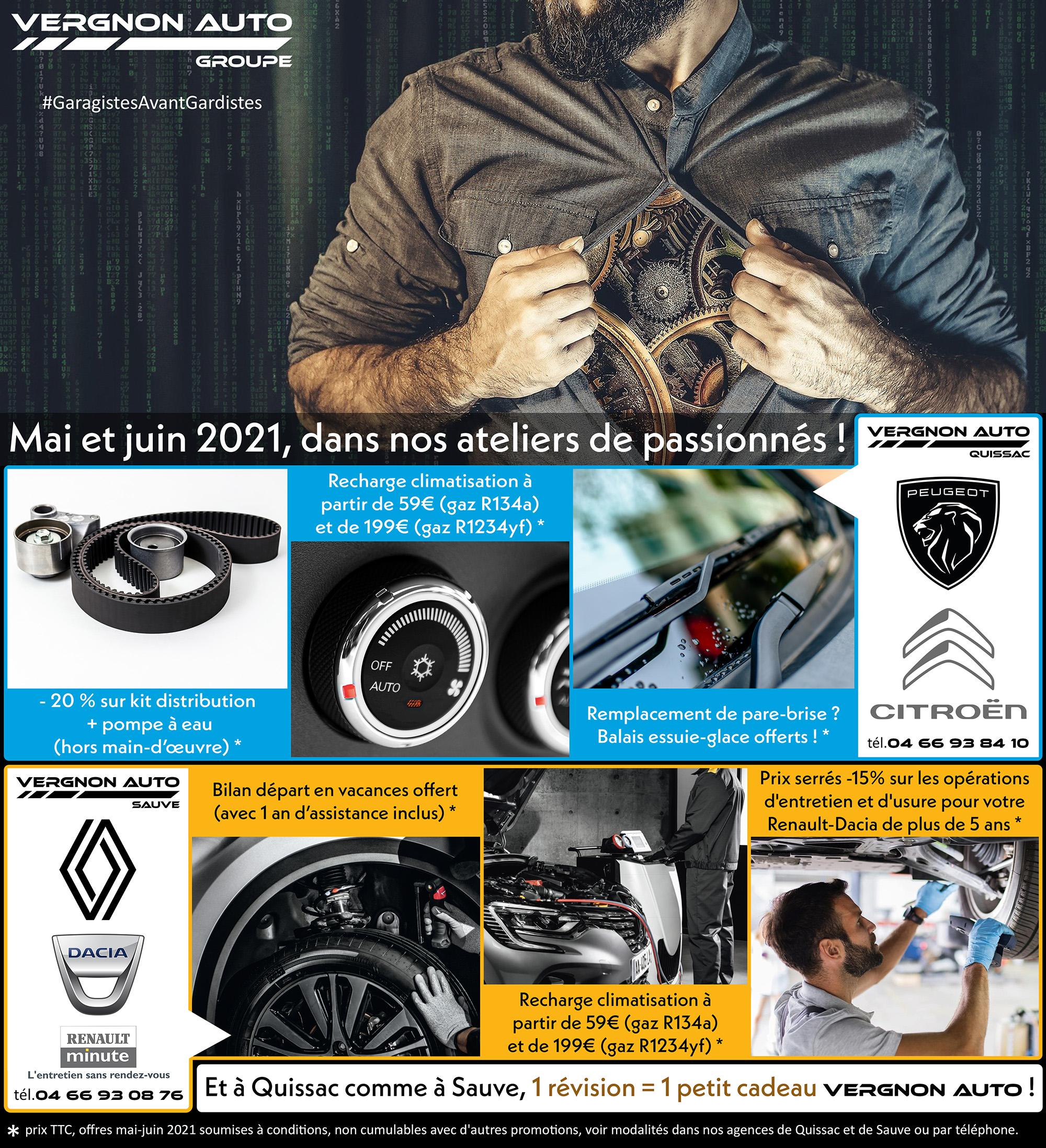 Renault-Dacia Sauve, Peugeot-Citroën Quissac, promotions ateliers mai juin 2021