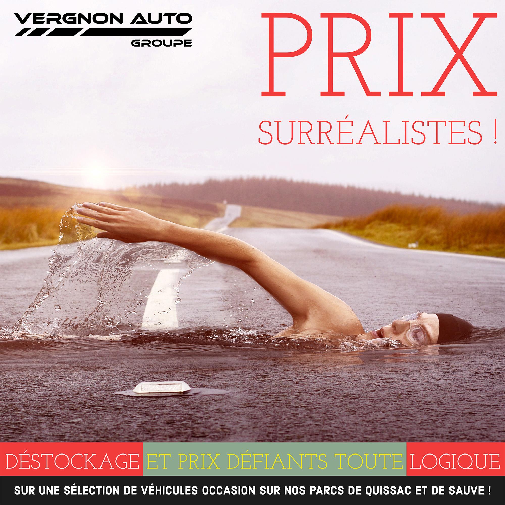 """Promo """"prix surréalistes !"""" sur une sélection de voitures occasion sur nos parcs de Quissac et de Sauve"""